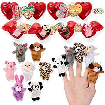 JOYIN 28 Valentines Day Pre Crammed Hearts with Valentine Playing cards Crammed with Finger Puppets for Youngsters Valentine Classroom Trade, Cute Toys for Valentine Get together Favors, Present Trade, Recreation Prizes