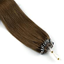 Vlasy 5A 24inch 25g Micro Ring Hair Extensions Human Hair Extensions Straight Easy Loop Hair Extensions (6#)
