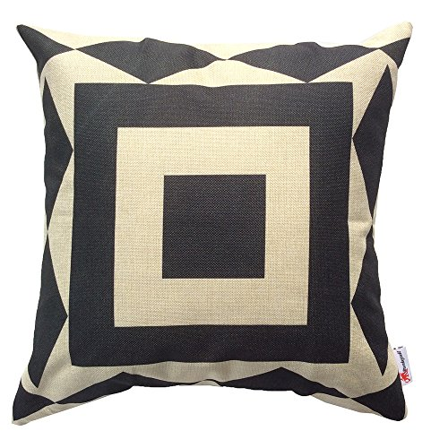 Monkeysell couch pillows set of 4 Black and Beige Stripe Vintage Style Cotton Linen Sofa Home ...