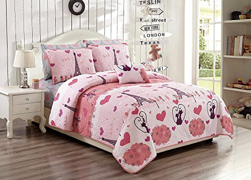 Elegant Home Paris Eiffel Tower Bonjour Design Multicolors Pink Fun Printed Reversible Cozy Colorful 4 Piece Quilt Bedspread Set with Decorative Pillow for Kids/Girls (Full Size) Elegant Home Decor