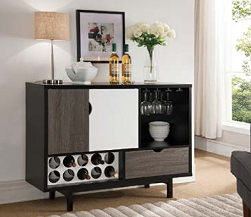 - Smart Home 151369 Contemporary Wine Cabinet Buffet Table, Black & Glossy White & Distressed Grey Color, Sideboard Cabinet