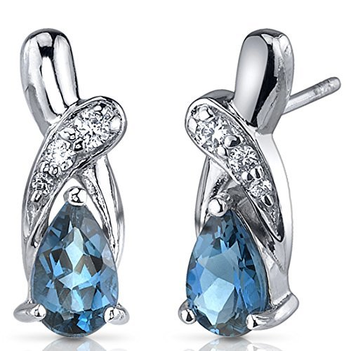 London Blue Topaz Earrings Sterling Silver Rhodium Nickel Finish 2.00 Carats Pear Shape CZ Accent by Peora