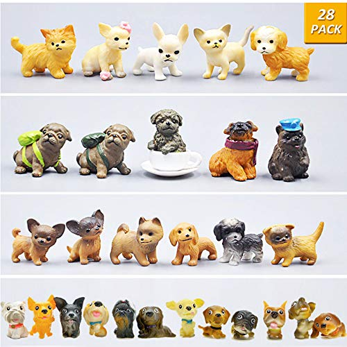 GuassLee Mini Plastic Puppy Dog Figurines for Kids - 28 Pack High Imitation Detailed Hand Painted Realistic Small Dog Figurines Toy Set (Small Figurines)