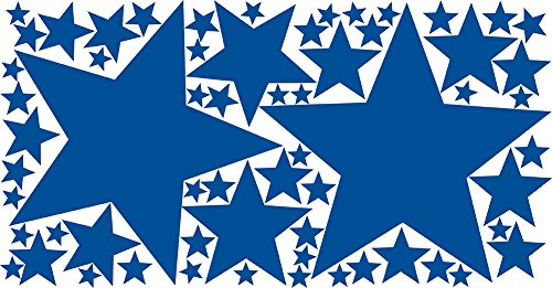 Drama Decor 62 Peel & Stick Removable Wall Decals Stars, Royal Blue