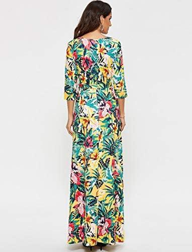 ZCFDD Abito Lungo Elegante da Donna con Scollo A V Stampato Stili Boho Abiti Mezza Manica Caual Maxi Sashes Dress Plus Size XL Arancione