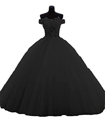 cece94c92 BanZhang Women s Quinceanera Dresses Black Off The Shoulder Evening Dress  for Wedding Lace B183 Black 2