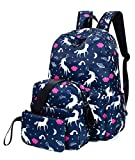 Leaper Unicorn Backpack for Girls Laptop Backpack School Bag Travel Daypack Bookbag Shoulder Bag Pencil Case Dark Blue 2