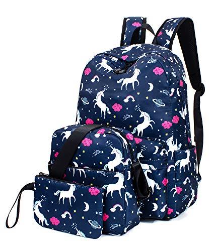 Leaper Unicorn Backpack Laptop Backpack School Shoulder Bag Purse Dark Blue 2