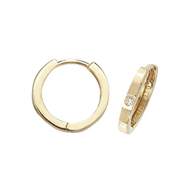 e6c8a1b9e626a 9ct Yellow Gold 10mm Hinged Hoop Single Cz Earrings Weight 1.2g ...