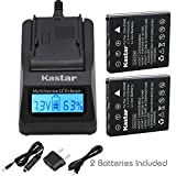 Kastar Fast Charger and Battery 2-Pack for Pentax D-Li8 D-Li85 and PENTAX Optio A10 A20 A30 A36 A40 E65 L20, Optio S S4 S4i S5iS5n S5z S6 S7 SV SVi, Optio T10 T20, Optio W10 W20 WP WPi, Optio X Camera