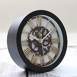 YJYdada Clock, Silent Sweep Modern Graceful Bell Desk Creative Digital Alarm Clock (Black)