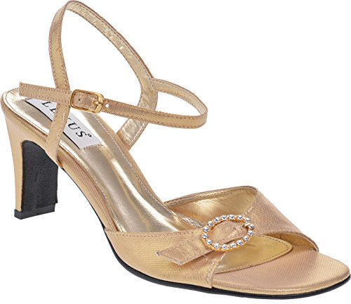Ladies Lexus Medium Heel Comfort 'D' Fitting Sandal with Diamante Design Gold KhtHJ2