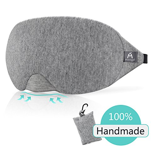 Cotton Sleep Eye Mask - 100% Light Blocking Sleep Mask, Comfortable & Lightweight Sleeping Mask with Adjustable Strap, No Pressure on Eyes and Great for Traveling/Nap/Night Sleeping (Grey)