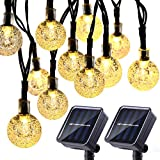 Joomer 2 Pack Globe Solar String Lights 20ft 30 LED Solar Globe LightsWaterproof 8 Modes Crystal Ball Lighting for Patio Lawn Garden Wedding Party Christmas Decorations (Warm White)