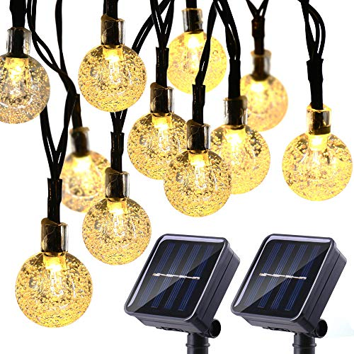 Joomer 2 Pack Solar Christmas Lights, 20ft 30 LED Globe Solar String Lights, 8 Modes Crystal Ball Fairy String Lights for Patio, Lawn, Garden, Wedding, Party, Christmas Decorations (Warm White) (Globe Solar String Lights)
