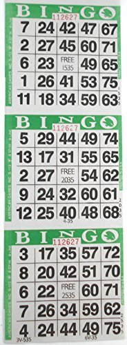 3 auf Grün Bingo Papier Karten – 1000 Blatt – 3000 Karten von amerikanischen Spiele INC