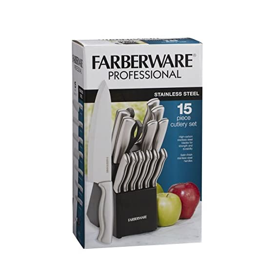 Farberware 5152497 Stamped 15-Piece High-Carbon Stainless Steel Knife Block Set, Steak Knives 5 <p>Farberware is the #1 selling cutlery brand in the U.S. (Source: The NPD Group, Inc./Retail Tracking Service. 52 weeks ending March 2016). This 15-piece set includes an 8-inch chef knife, 8-inch bread knife, 8-inch slicer, 7-inch Santoku, 5-1/2-inch serrated utility knife, 3-1/2-inch paring knife, a pair of shears, a sharpening steel and six 4-1/2-inch long steak knives. All knives feature high-carbon stainless steel blades which ensure the blades retain their ultra-sharp edge longer than conventional stainless steel. Each knife features an ergonomic brushed steel handle for greater durability. Not dishwasher safe. Hand wash with warm water and a mild detergent; rinse and dry immediately. 15 PIECE KNIFE BLOCK SET: This set includes an 8 inch chef's knife, 8 inch bread knife, 8 inch slicer knife, 7 inch Santoku, 5.5 inch serrated utility knife, 3.5 inch paring knife ALSO INCLUDES: This set also includes (6) 4.5 inch steak knives, a pair of all purpose kitchen scissors, a sharpening rod, and a black wood storage block HIGH QUALITY BLADE: Each blade is expertly crafted from superior quality, high carbon stainless steel which ensure the blades retain their ultra sharp edge longer than conventional stainless steel and provide precision results COMFORT GRIP: Featuring a satin finish, the handles are crafted from stainless steel and are ergonomically designed for a comfortable grip; each knife is perfectly balanced for precision while cutting EASY CARE: Hand wash with warm water and a mild detergent; rinse and dry immediately; lifetime limited warranty Farberware is the #1 selling cutlery brand in the U.S. (Source: The NPD Group)</p>