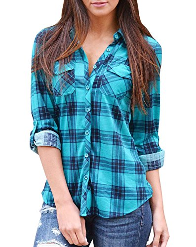 Roswear Women's V Neck 3/4 Cuffed Sleeve Plaid Blouse Tops Blue Large