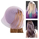 Highlighting Cap with Hook, Hapdoo Reusable Hair Color Salon Dye Silicone Caps with Metal Hook Needle Frosting Tipping Tools, Pink