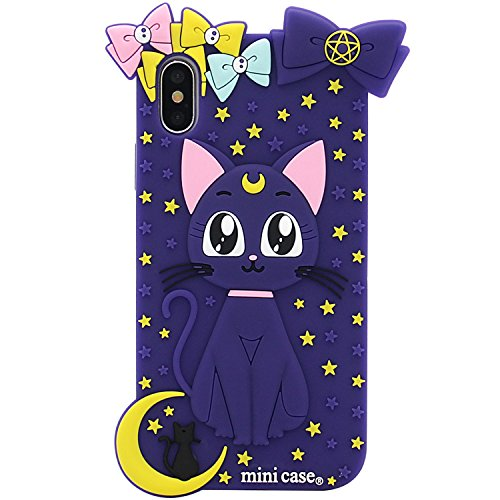 iPhone X Case, MC Fashion Cute Japan Cartoon Sailor Moon Crystal, Soft and Slim Silicone Case for Apple iPhone X/iPhone Xs (Luna Cat/Purple)