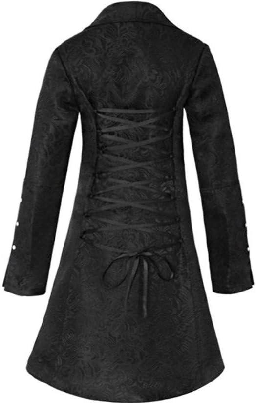 Rétro Medievale lungo Gotico Cappotto Vestito Steampunk Jacquard Bottoni Giacca