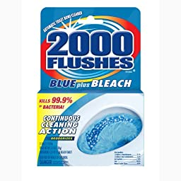2000 Flushes Blue Plus Bleach Antibacterial Automatic Toilet Bowl Cleaner, 3.5-Ounce (Pack of 12)