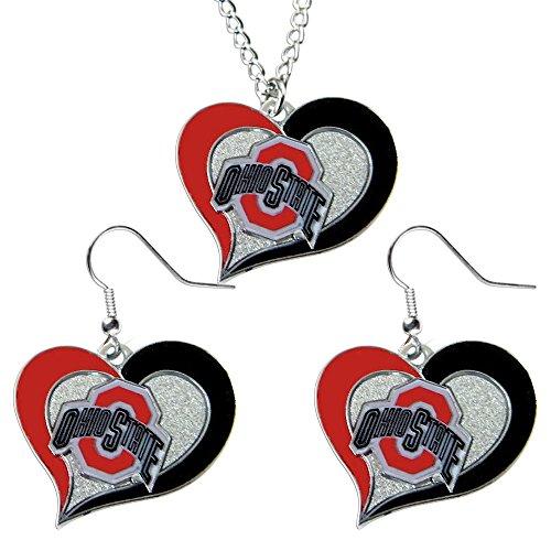 Aminco Ohio State Buckeyes NCAA Swirl Heart Pendant Necklace And Earring Set Charm Gift