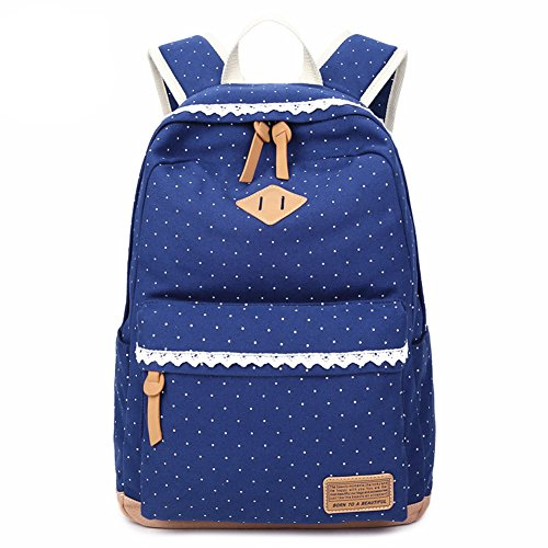 Tusong Cute Lightweight Backpacks for Teen Young Girls (Blue Lace)