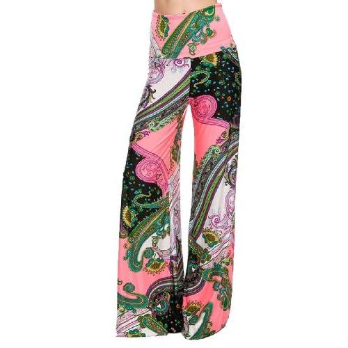 9aad1b0d2e1 Womens Fold Over Waist Wide Leg Palazzo Pants (Coral Paisley) durable  modeling. Women · Casual