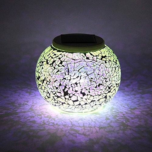 Exlight Solar Mosaic Light Rechargeable Table Lamp Waterproof Glass Decorative Color Changing Night Light