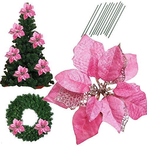 8.6 Inch Glitter Artifical Wedding Christmas Flowers Glitter Poinsettia Christmas Tree Ornaments Christmas Tree Decorations Pack of 12 (Pink) (Pink Glitter Flower)