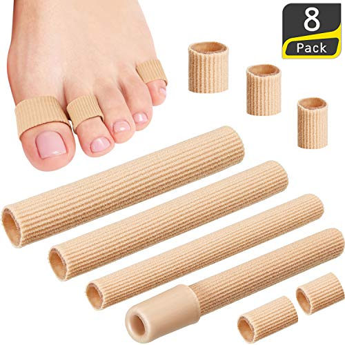 8 Pieces Toe Cushion Tube Open Toe Tubes Fabric Lined with Silicone Gel Toe Sleeves Protectors for Cushions Corns, Blisters, Calluses, Toes and Fingers, 3 Sizes