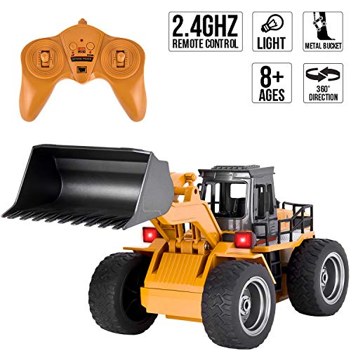 ROOYA BABY Remote Control Loader Bulldozer Construction Vehicle 2.4GHz Radio Controlled Alloy Shovel Tractor 4WD RC Car with Lights 6 Channel Simulation Truck for Boys -