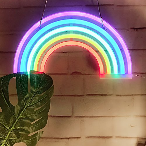 - Cute Rainbow Neon Sign,LED Rainbow Light/Lamp Decor Light,Rainbow Decor Neon Lamps,Wall Decor for Girls Bedroom,Chistmas,Birthday Party,Kids Room, Living Room,Party as Kids Gift,Wedding Party Decor
