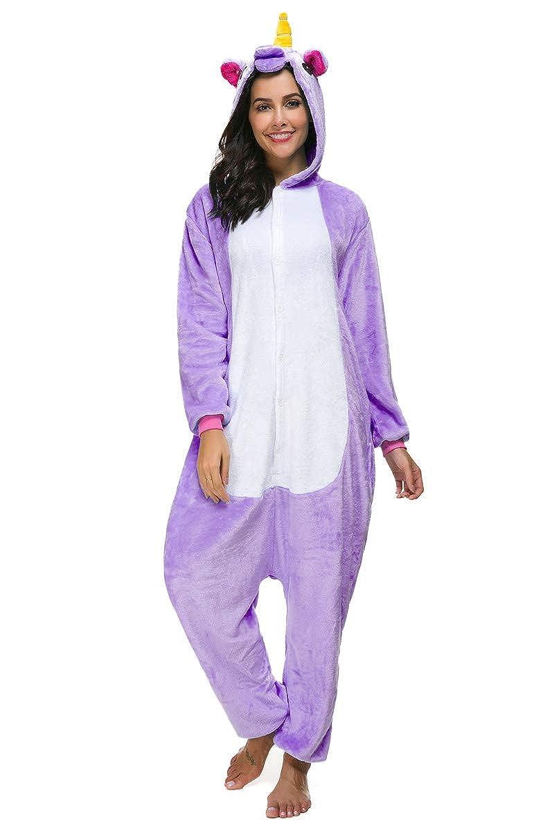 TALLA S (150-158CM). Kigurumi Pijamas Enteros Disfraz Unicornio Traje Animal Cosplay Adulto Onesie Ropa de Dormir Regalo para Carnaval Halloween Navidad