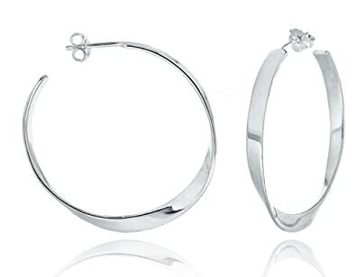 Tuscany Silver Sterling Silver 35mm Flat Hoop Earrings Y1dIdwsR7