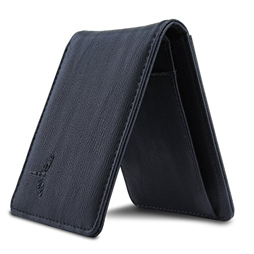 Slim Leather Bifold Wallet Front Pocket Wallet with RFID Blocking Thin Card Case Wallet(Small Black)