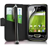 Mega.Deals4U® - PU Leather Flip Card Wallet Case For SAMSUNG GALAXY MINI GT S5570 INCLUDING STYLUS PEN + SCREEN PROTECTOR + CLEANING CLOTH (Black)
