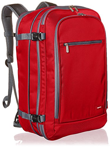 AmazonBasics Carry On Travel Backpack - Red ()