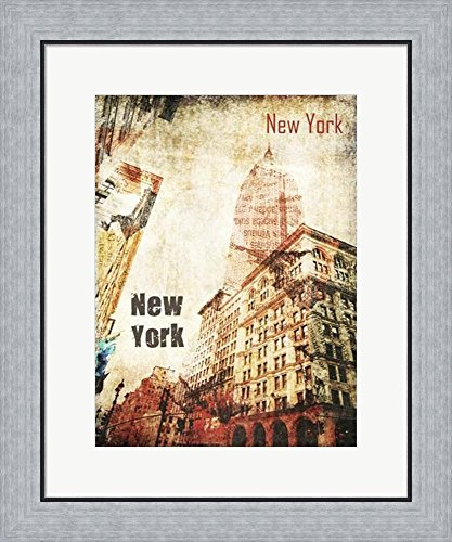 New York Grunge I by Irena Orlov Framed Art Print Wall Picture, Flat Silver