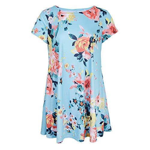 Magideal Femmes Robe D'été Boho Imprimé Floral Plage O-cou Mini Robe Casual T-shirt Robe Courte Bleu M
