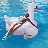 patcharaporn Inflatable Leisure Giant Swan Float Toy Rideable Raft Summer Lake Swimming Pool