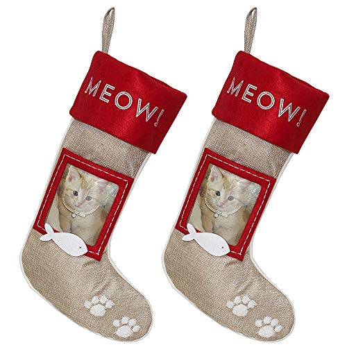 Burlap Pet Christmas Stockings - 2-Pack of 20 inch Festive Cat Holiday Stockings with Picture Frame (Frame Holder Stocking)