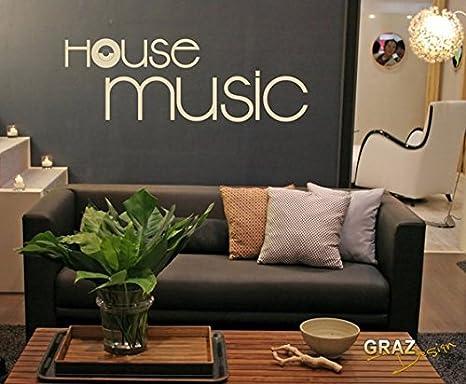 Adesivo da parete con scritta house music per decorazione della