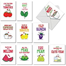 Box Set of 10 'Romantic Yummy Puns' Valentine's Day Greeting Card Featuring Images of Hilarious and Lip-Smacking Lover's Food Puns, with Envelopes M5659VDG-B1x10
