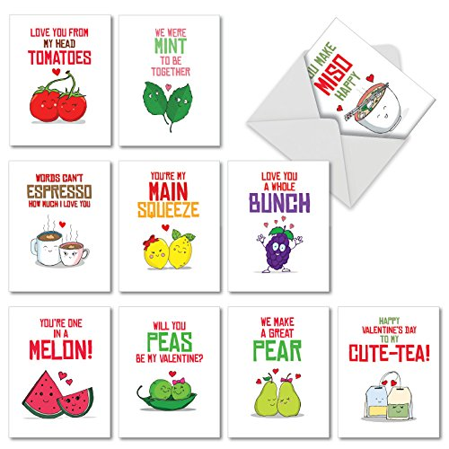 10 Romantic Yummy Puns - Boxed Set of Valentines Day Greeting Cards with Envelopes (4 x 5.12 Inch) - Funny Assorted Food Pun Notecard Stationery, Cute Valentines Note Cards M5659VDG-B1x10
