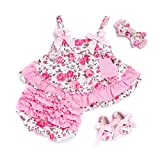 Newborn Baby Girl Floral Dress Tops+Shorts+Headband+Shoes Set (0-6M)