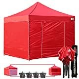 (18+ colors)AbcCanopy Commercial 10×10 Ez Pop up Canopy, Party Tent, Fair Gazebo with 6 Zipped End Sidewalls and Roller Bag Bonus 4x Weight Bag (red)