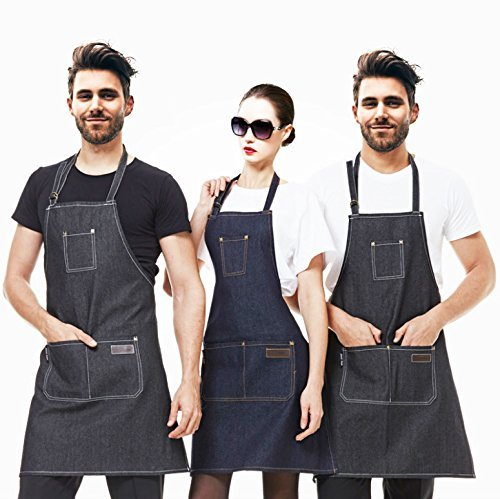 EQ Apron Waterdrop Resistant with 3 Pockets Cooking Kitchen Aprons for Women Men Chef,Black by EQ (Image #1)