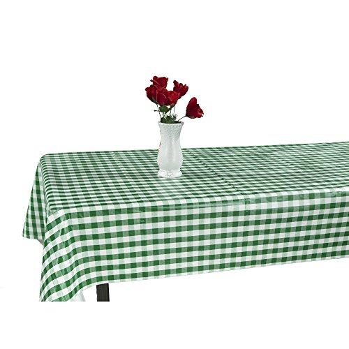"55"" X 70"" Vinyl Tablecloth Green Checkered Design Indoor/Outdoor Tablecloth with Non-Woven Backing"